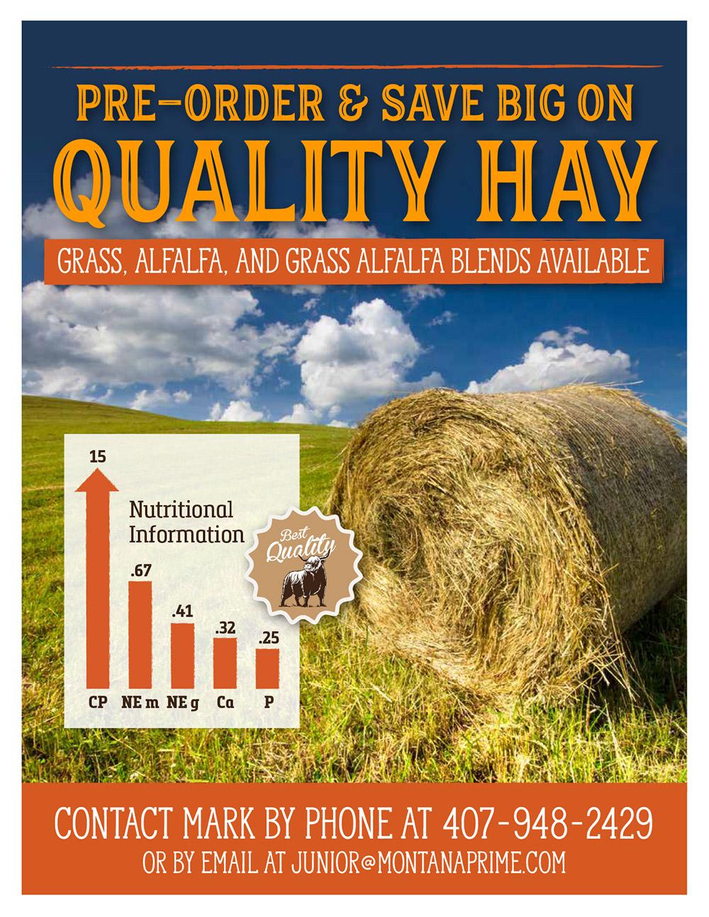 Hay at Montana Prime, Grass, Alfalfa, Blend